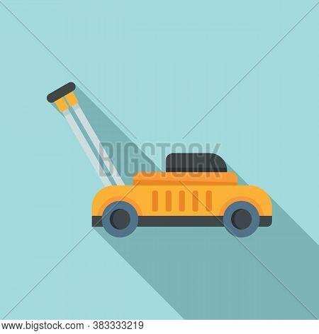 Gasoline Lawn Mower Icon. Flat Illustration Of Gasoline Lawn Mower Vector Icon For Web Design
