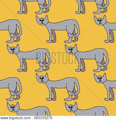 Cartoon Doodle Cat Seamless Pattern. Pet In Childlike Style, Animal Background. Vector Illustration.