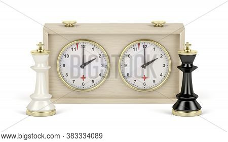 Black And White Chess Kings And Analog Chess Clock On White Background, 3d Illustration