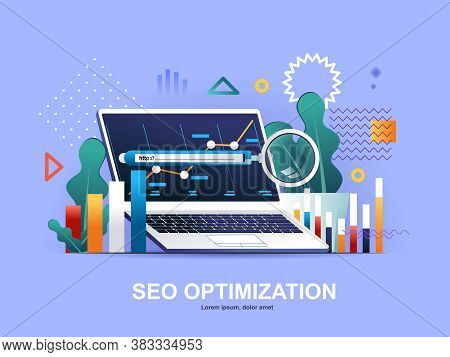 Seo Optimization Flat Concept With Gradients. Internet Analytics, Online Research Software And Tools