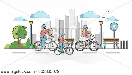 City Cycling Activity As Urban Active Transportation Ride Outline Concept. Bike Family On Road In To
