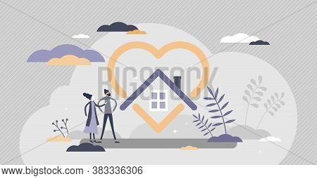 Home Love As Protected Or Safe House And Cosy Feeling Tiny Person Concept. Real Estate With Emotiona