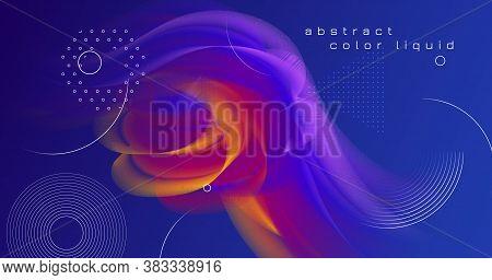 Colorful Neon 3d Liquid Shapes. Color Music Poster. Fluid Vibrant Concept. Blue Creative Motion. 3d