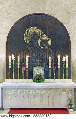 ZAGREB, CROATIA - OCTOBER 16, 2014: The high altar in the parish church of Our Lady of Sljeme - Queen of Croats on Sljeme, Zagreb, Croatia