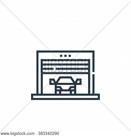 garage icon isolated on white background from driving school collection. garage icon trendy and mode