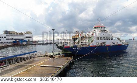 Labuan,malaysia-aug 27,2020:view Of The Ro-ro Ferry Passenger Ship At Labuan Ro-ro Ferry Terminal La