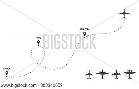 Plane Dash Trace. Set Of Planes. Routes And Direction Of Travel. Black Silhouettes Of Airplanes And