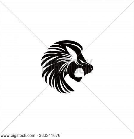 Simple Lion Logo Savage Black Beast Head Vector Illustration, Icon Of Animal Or Wildlife Design Temp