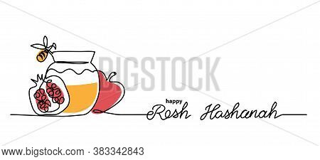Rosh Hashanah Simple Vector Background With Honey, Apple, Pomegranate And Bee. One Continuous Line D