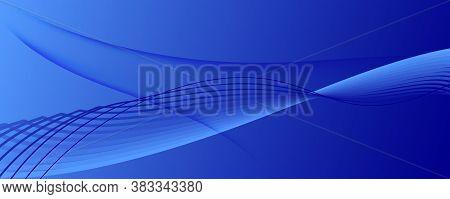 Blue Futuristic Abstract. Creative Stripes. 3d Dynamic Background. Memphis Vector Banner. Digital Fu