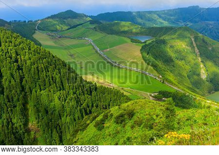 Viewpoint Miradouro da Boca do Inferno in Sao Miguel Island, Azores, Portugal. Amazing crater lakes surrounded by green fields and forests