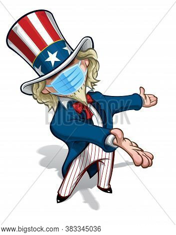 Vector Illustrations Of A Cartoon Uncle Sam, Presenting, Wearing A Surgical Mask. All Elements Neatl