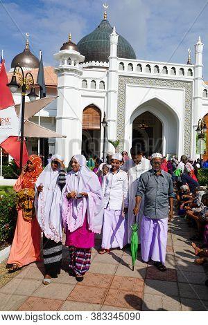 Georgetown, Penang/malaysia - Sep 12 2016: Muslim Walk Out From Masjid Kapitan Keling After Friday P