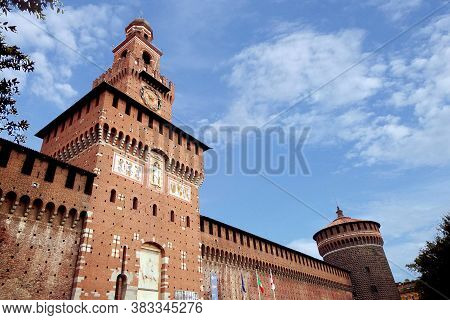 Castello Sforzesco During The Day. Summer Tours. Milan Italy 08.2020