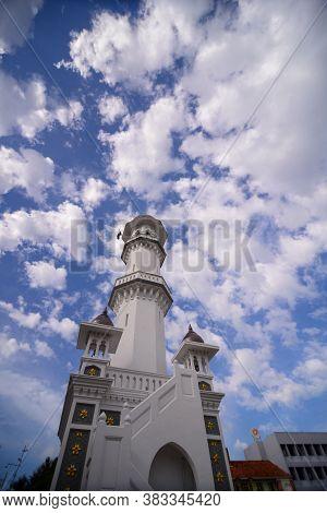 Georgetown, Penang/malaysia - Sep 12 2016: Architecture Minaret Of Masjid Kapitan Keling Mosque Unde
