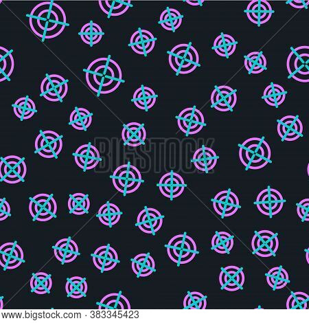 Line Target Sport Icon Isolated Seamless Pattern On Black Background. Clean Target With Numbers For