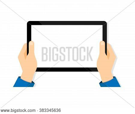 Tablet In Hand. Tablet Screen Blank. Mobile Device Mockup Isolated. Vector Eps10