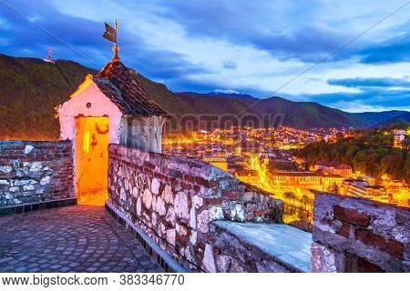 Brasov, Romania. Hdr Sunrise View Of Brasov Fortress ( The Citadel Or Fortress Hill ), Part Of The C