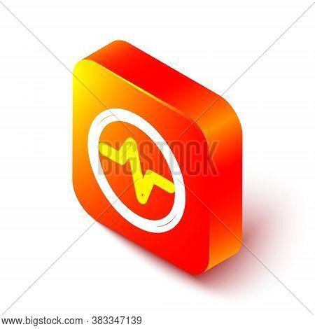 Isometric Line Electric Circuit Scheme Icon Isolated On White Background. Circuit Board. Orange Squa