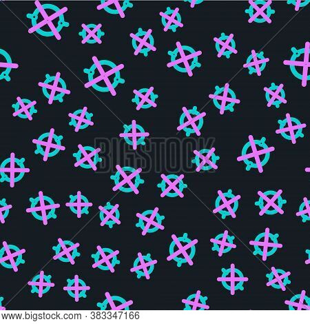Line Electric Circuit Scheme Icon Isolated Seamless Pattern On Black Background. Circuit Board. Vect