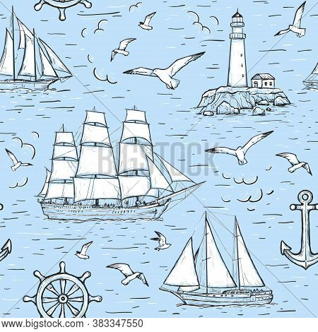 Vector Sketch Seamless Marine Pattern With Sailing Ship, Lighthouse, Seagulls, Anchor. Design On Blu