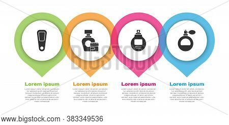 Set Hand Mirror, Cream Or Lotion Cosmetic Tube, Perfume And Perfume. Business Infographic Template.