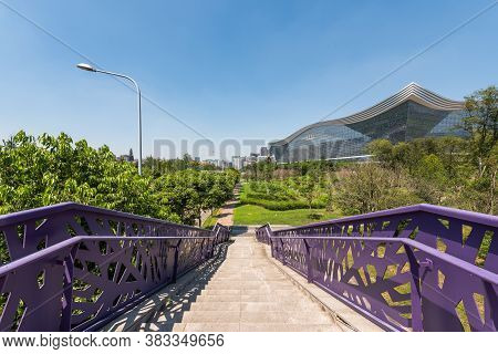 Chengdu, Sichuan Province, China - Aug 26, 2020 : New Century Global Center Building And Stairs On A