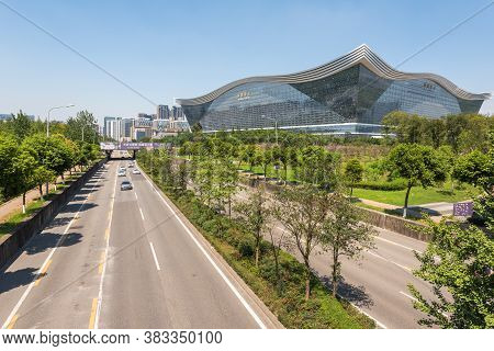 Chengdu, Sichuan Province, China - Aug 26, 2020 : New Century Global Center Building And Road On A S