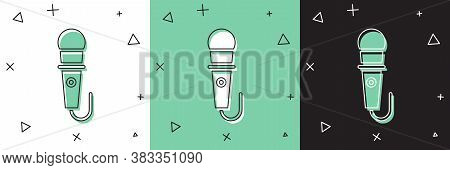 Set Microphone Icon Isolated On White And Green, Black Background. On Air Radio Mic Microphone. Spea