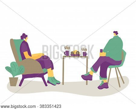 Friends Meeting. Two Charcters Drinking Tea Together. Male And Female Persons Sitting In The Chair A