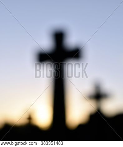 Three Blurred Crosses Representing The Crucifixion And Resurrection Of Jesus Christ And Easter.