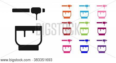 Black Honey Dipper Stick And Bowl Icon Isolated On White Background. Honey Ladle. Set Icons Colorful