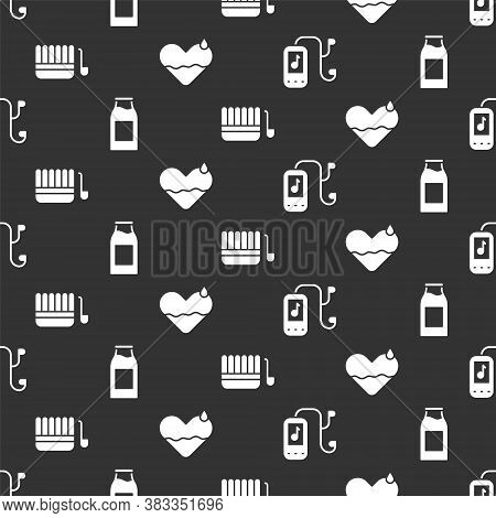 Set Music Player, Bottle With Milk, Sauna Bucket And Ladle And Heart Heal On Seamless Pattern. Vecto