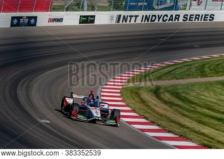 August 28, 2020 - Madison, Illinois, USA: MARCO Andretti (98) of the United States practices for the Bommarito Automotive Group 500 at the World Wide Technology Raceway in Madison, Illinois.