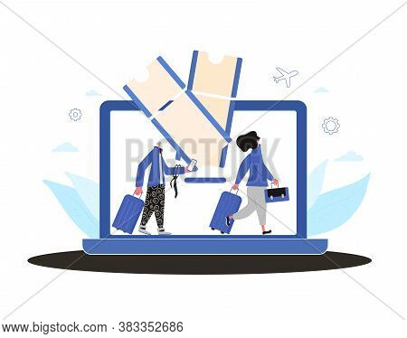 Online Flight Ticket Booking. Male And Female Travelers Going To His Flight With Luggage. Book Your