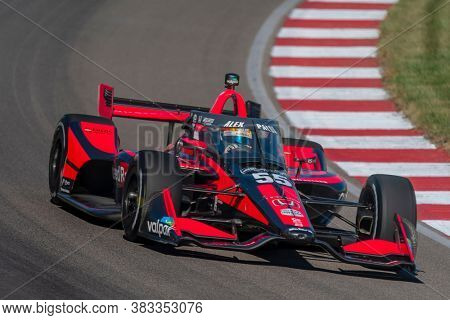 August 28, 2020 - Madison, Illinois, USA: ALEX PALOU (R) (55) of Barcelona, Spain  practices for the Bommarito Automotive Group 500 at the World Wide Technology Raceway in Madison, Illinois.