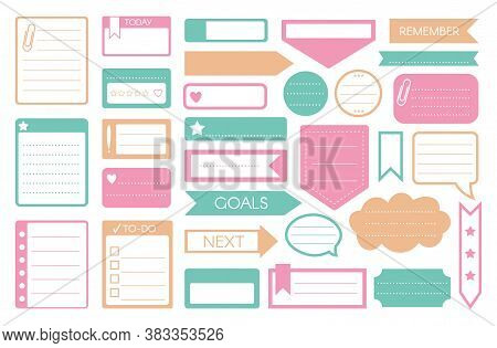 To-do Sticker. Vector To-do List, Reminder, Goal Memo, Note Sticker, Weekly Daily Planner Icon Set I