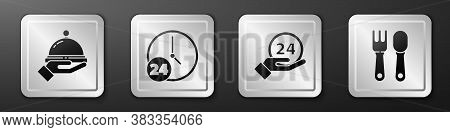 Set Covered With A Tray Of Food, Clock 24 Hours, Clock 24 Hours And Fork And Spoon Icon. Silver Squa