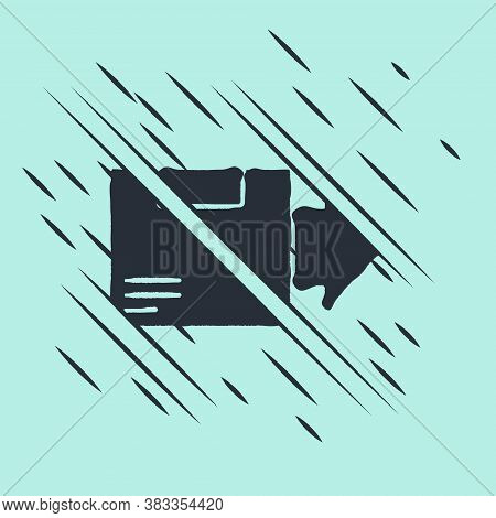 Black Carton Cardboard Box Icon Isolated On Green Background. Box, Package, Parcel Sign. Delivery An