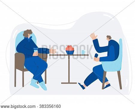 Friends Meeting. Two Charcters Drinking Tea Together. Persons Sitting In The Chair And Talking About