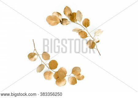 Gold Round Frame Made Of Gold Branches Eucalyptus And Leaves Isolated On White Background. Lay Flat,