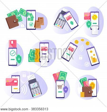 Mobile Payment. Pos-terminal Payment, Smartphone Money Transfer And E-wallet Replacement Set. Mobile