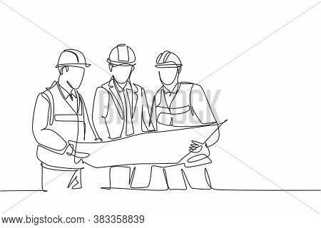 One Continuous Line Drawing Of Young Construction Coordinator Discussing Construction Design Plan To