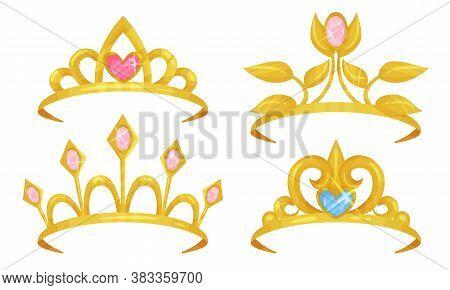 Golden Tiaras Or Diadem With Gemstones Vector Set