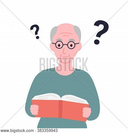 Older Man Cant Read Book. Grandpa Has Problems With His Eyesight. Alzheimer's Symptom Difficulty Und