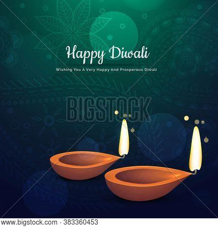 Beautiful Diwali Festival Diya Background With Two Diya