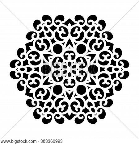 Vector Simple Black Mandala With Abstract Elements, Isolated On White Background. Oriental Ethnic Or