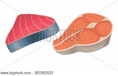 Red Fish Steak And Slab As Seafood And Marine Delicacy Vector Set