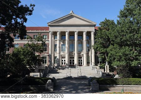 West Lafayette - Circa August 2020: Purdue University And Hovde Hall. In 1975, Purdue Renamed The Ex