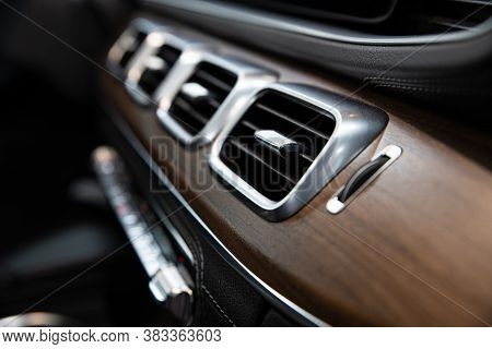 Luxury Car Air Vents And Air Conditioning. Modern Car Interior